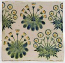 Square tile depicting clumps of daisies