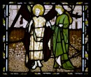stained glass window of the God of Love and Alceste