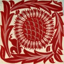 white square tile with red sunflower design