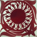 white tile with red sunflower design