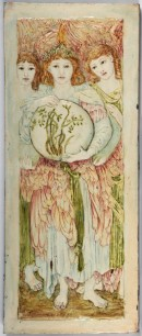 Low relief tile panel showing three angels, one holding a sphere with plants