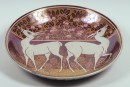 Lustre dish with two antelope and a fish