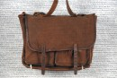 Brown canvas sachel with leather straps