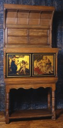Oak cabinet with classical scenes painted on front
