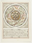Circular illustration, three birds with thorn and flower foliage, centre shield with ivy and berry decoration. Decorative border. Text below.