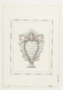 Design for ornamented verse for Valentine (?) to E.M. (his wife), in black, pink and mauve.