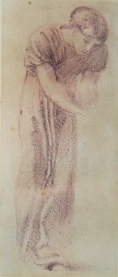 Chalk drawing of a woman leaning forward