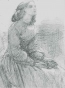 pencil drawing of a seated woman