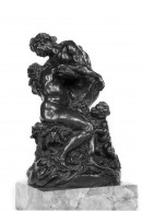 Seated nude woman, her head against the shoulder of male nude leaning supporting her arms, a young faun standing right holding her knee and offering a bunch of grapes.