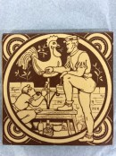 yellow and brown tile showing two men painting a cockerell