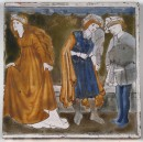 Tile showing Cinderella standing with two men in the background