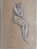 drawing of seated nude figure one hand supporting head