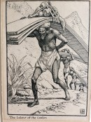barefoot man carrying heavy load on his back, followed by others carrying similar goods