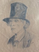 portrait of old man with top hat, head and shoulders only