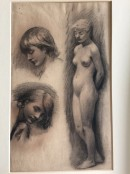 two sketches of faces and a third nude child standing