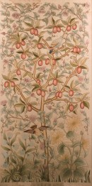 embroidery of a plum tree in coloured silks