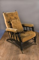 wooden adjustable back armchair upholstered in yellow Utrecht velvet
