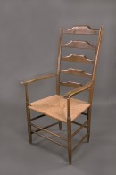Rush-seated armchair with ladder back