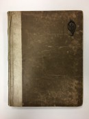 A brown card book cover with a century guild logo in the top right showing the letters CG wrapped around the stem of a pomegranate