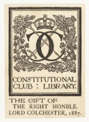 K269 Bookplate For Constitutional Club Library by Horne
