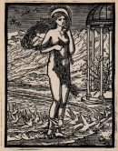 Woodcut of Venus standing on the edge of the sea