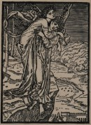 Woodcut of a figure on the back of a winged figure