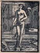 Woodcut of a naked Psyche standing in a pool