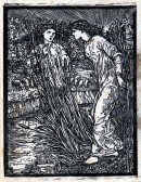 Woodcut of two figures standing among bullrushes