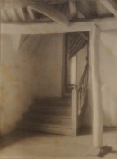 Platinum print of an attic doorway and stairs