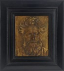 Framed plaster plaque of a portrait of William Morris