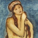 Detail of painting showing nude woman with long hair