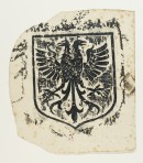 Brass rubbing of a shield design with a two-headed eagle.