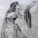 Jane Morris drawing in medieval dress