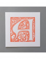William Morris Letterpress - 'A' Greetings Card (orange)