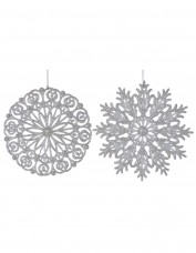 Assorted Glitter Snowflake Decoration - Silver (double layer)