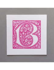 William Morris Letterpress - 'B' Greetings Card (pink)