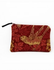 Bird and Anemone Cosmetics Bag (red)