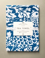 Blue 'Bird and Anemone' Screen Print Tea Towel