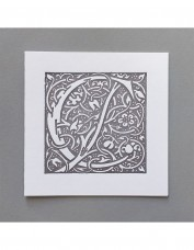 William Morris Letterpress - 'C' Greetings Card (grey)