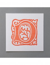 William Morris Letterpress - 'D' Greetings Card (orange)