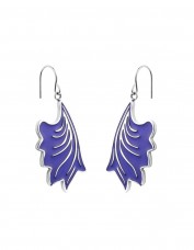 Esa Evans Drop Leaf Earrings - Silver Finish with Blue Enamel
