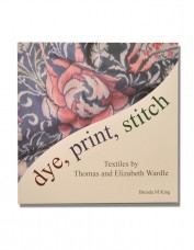 Cover design showing detail of a Thomas Wardle patterned silk in blues and pinks