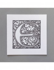 William Morris Letterpress - 'E' Greetings Card (grey)