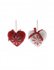 Fabric Embroidered Heart Decoration - Red