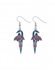 Sea Gems - Enamel Art Deco Flower Bud Earrings (mauve)