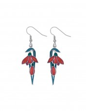Sea Gems - Enamel Art Deco Flower Bud Earrings (red)