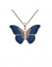 Celtic Lands - Enamel Butterfly Necklace (blue)