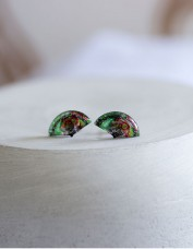 Fan Stud Earrings (green)