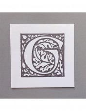 William Morris Letterpress - 'G' Greetings Card (grey)