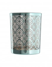 Turquoise Metallic Glass Tea Light Holder